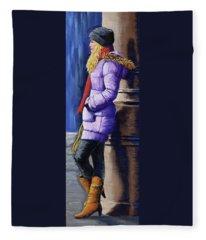 Girl Waiting Fleece Blanket