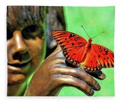Girl With Butterfly Fleece Blanket