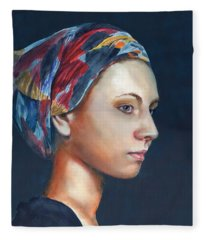 Girl With Headscarf Fleece Blanket