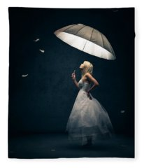 Girl With Umbrella And Falling Feathers Fleece Blanket
