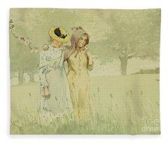 Girls Strolling In An Orchard Fleece Blanket