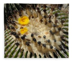 Giving Birth Barrel Cactus Yellow Flowers Fleece Blanket