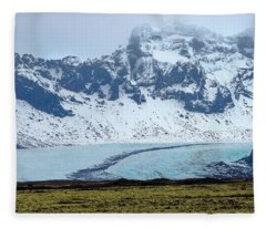 Fleece Blanket featuring the photograph Glacier And Mountain, Iceland by Pradeep Raja PRINTS