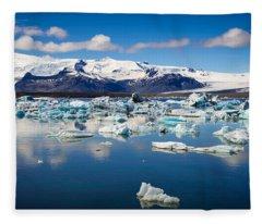 Glacier Lagoon In Iceland Fleece Blanket
