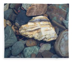 Glacier Park Creek Stones Submerged Fleece Blanket