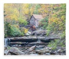 Glade Creek Grist Mill In Autumn Fleece Blanket