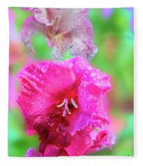 Gladiola Blossoms In The Rain. Fleece Blanket