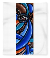 Abstract Eye Art Acrylic Eye Painting Surreal Colorful Chromatic Artwork Fleece Blanket