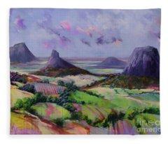 Glasshouse Mountains Dreaming Fleece Blanket