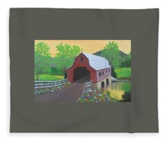 Glenda's Covered Bridge Fleece Blanket