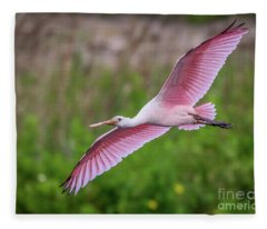 Gliding Spoonbill Fleece Blanket