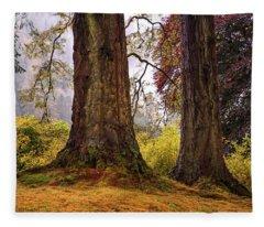 Glorious Fall In Benmore Botanical Garden. Scotland Fleece Blanket