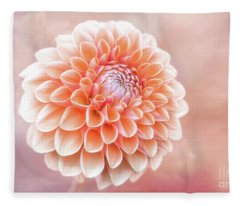 Glorious Salmon Dahlia Fleece Blanket