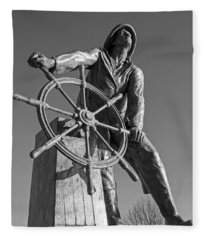 Gloucester Fisherman's Memorial Statue Black And White Fleece Blanket