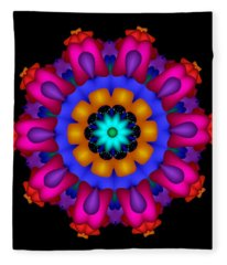 Glowing Fractal Flower Fleece Blanket