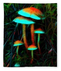 Glowing Mushrooms Fleece Blanket
