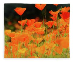Glowing Poppies Fleece Blanket