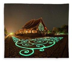 Glowing Wat Sirintorn Wararam Temple, Ubon Fleece Blanket