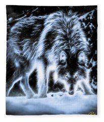 Glowing Wolf In The Gloom Fleece Blanket