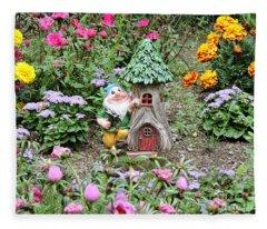 Gnome At Home Fleece Blanket