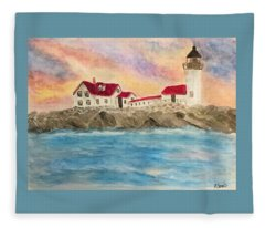 Goat Island Lighthouse In Maine Fleece Blanket
