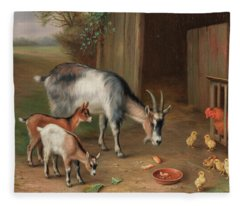 Goats And Chickens In A Farmyard Fleece Blanket