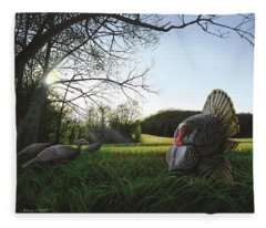 Gobbler's Morning Dance Fleece Blanket