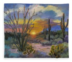 God's Day - Sonoran Desert Fleece Blanket
