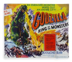 Godzilla King Of The Monsters An Enraged Monster Wipes Out An Entire City Vintage Movie Poster Fleece Blanket