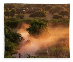 Going Home At Sunset Fleece Blanket