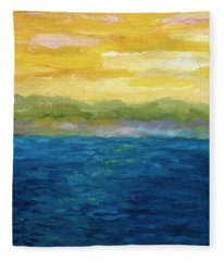 Gold And Pink Sunset  Fleece Blanket