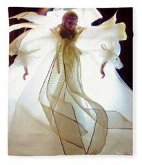 Gold And White Angel Fleece Blanket