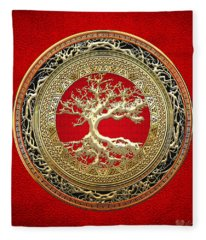 Gold Celtic Tree Of Life On Red Fleece Blanket