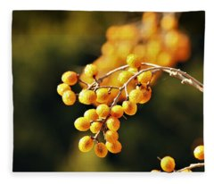 Gold Chinaberries And Bokeh Fleece Blanket