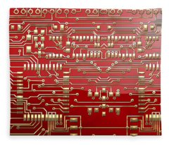 Gold Circuitry On Red Fleece Blanket
