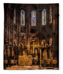 Paris, France - Gold Cross - St Germain Des Pres Fleece Blanket