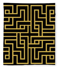 Gold Geo 6 Fleece Blanket
