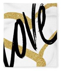 Gold Heart Black Script Love Fleece Blanket