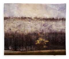 Gold Leafed Tree In Snow Fleece Blanket