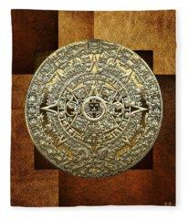 Gold Mayan-aztec Calendar On Brown Leather Fleece Blanket