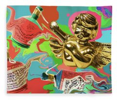Golden Angel With Party Poppers Fleece Blanket