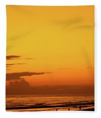 Golden Beach Sunset Fleece Blanket