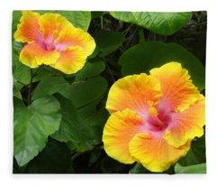 Golden Floral Beam Of Two Fleece Blanket