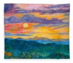 Golden Blue Ridge Sunset Fleece Blanket