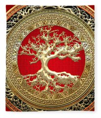 Golden Celtic Tree Of Life  Fleece Blanket