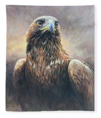 Golden Eagle Portrait Fleece Blanket