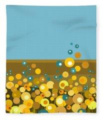 Golden  Flowers Fleece Blanket