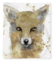 Golden Forest Fox Fleece Blanket