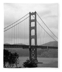 Golden Gate Bridge- Black And White Photography By Linda Woods Fleece Blanket