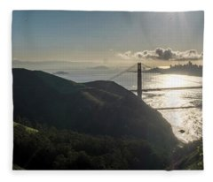 Golden Gate Bridge From The Road Up The Mountain Fleece Blanket